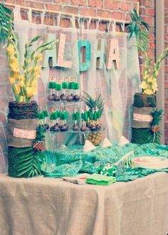 A Pretty Luau Party using soft colors in pink, turquoise and gold creating a vintage feel to this popular summer party theme. Oh what fun the guests had at this delightful summer party! Aloha Party, Tiki Party, Festa Party, Beach Party, Hawaiian Party Decorations, Summer Party Themes, Luau Party Ideas For Adults, Summer Parties, Birthday Decorations