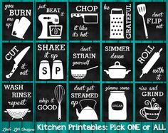 Kitchen Decor. Kitchen Utensil Decor. Kitchen Wall Art. Funny Kitchen Chalkboard Sign. Whip it Good. Just Beat It. Roll With It. Kitchen Art