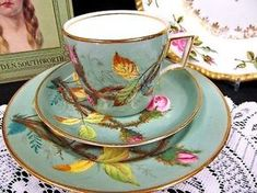 ANTIQUE-c-1830-039-S-TEA-CUP-AND-SAUCER-TRIO-MOSS-ROSE-PAINTED-TEACUP-SET-MINTON