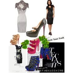 """""""black bandage dress with sleeves"""" by eric-larson on Polyvore"""