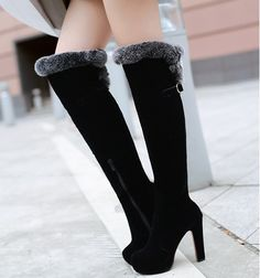 Black Round Toe Fur Knee High Boots