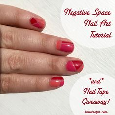 Negative Space Nail Art Tutorial + GIVEAWAY! by Katie Crafts - Crafting, Sewing, Recipes and More! http://katiecrafts.com