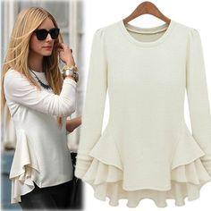 Fashion O Neck Long Sleeve White Cotton Blouse