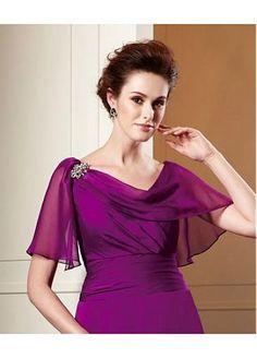 Exquisite Chiffon A-line Cowl Neckline Tea-Length Mother of the Bride Dress