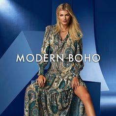 Fiercely free-spirited & beautiful, as stand-out style should be. Bohemian Chic Fashion, Bohemian Style, Boston Proper, Modern Boho, Boho Tops, Boho Outfits, Boho Dress, Vintage Looks, Feminine