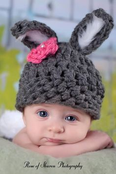 Baby Girl's Bunny Hat, Charcoal Grey, White FUR Ears, Pink Flower with Pearl... Avail in Preemie, Newborn, Infant Sizes