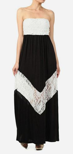 Black  White Lace Strapless Maxi Dress