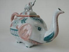 Porcelain elephant teapot chinoiserie pink and green