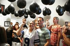 Balloon Gender Reveal--have black balloons filled with pink or blue confetti, then hang from the ceiling. All of your guests pop a balloon at once and the confetti falls to tell everyone if it's a boy or girl. by wylene