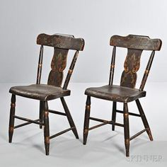 Pair of Paint-decorated Side Chairs, Pennsylvania, c. 1830, the shaped tablets above vasiform splats and turned stiles, on carved seats and turned front legs, original brown paint with polychrome and gilt foliate designs, ht. 31 1/2, seat ht. 17 3/4 in.  Estimate $300-500