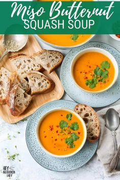 This Roasted Butternut Squash Soup recipe is made with the delicate flavours of coconut, miso, and lime. Silky smooth, this vegan soup recipe is comforting, nourishing, and complex. Vegetarian Comfort Food, Vegetarian Soup, Vegan Soup, Veggie Recipes Healthy, Tasty Vegetarian Recipes, Pressure Cooker Soup Recipes, Slow Cooker, Coconut Soup, Thai Coconut