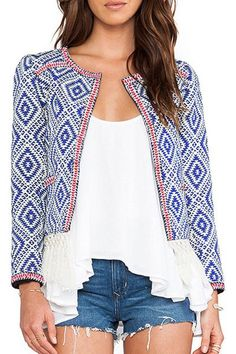 Ethnic Scoop Neck Long Sleeve Print Fringed Jacket For Women