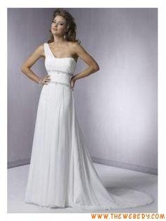 una spalla perline chiffon bianco abito da sposa progettista
