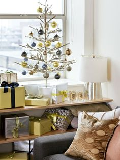 Beginner Beans: Small Space Christmas Decorating {an attempt toward a minimalist Christmas}...shelves for gifts, brilliant