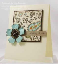 I love this simple card and the colors. SU paper but any small print paper would give same effect. Another great card for scrap paper