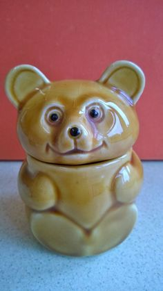 A Fantastic Small Bear Shaped Ceramic Honey Pot / Storage Container