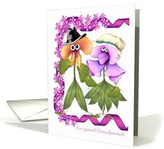 Grandparents Day Greeting Card with flower people card (474568)