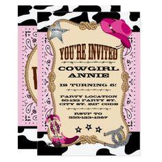 Custom cowgirl first birthday invitation pinterest birthdays pretty pink cowgirl birthday party invitations filmwisefo