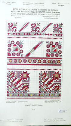 Specimen Embroideries of the Peasant Home Industry in the Bukovina, 1912 Russian Embroidery, Folk Embroidery, Russian Cross Stitch, Palestinian Embroidery, Knitting Charts, King Kong, Filet Crochet, Pattern Books, Milwaukee
