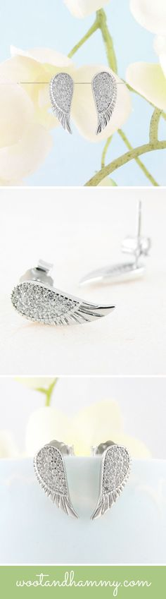 Angels are spiritual beings that support us with guidance and healing in difficult times. Angels are sometimes described as being the energy of love and light and when seen, they are often surrounded by a halo or soft glow. Little angel wing earrings in sterling silver.