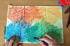 #Craft - leaf rubbings a nice craft for my Daisies to do.