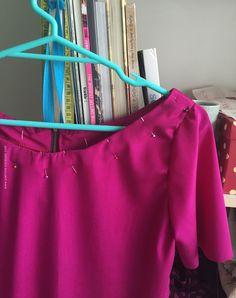 Pink silk blouse - sewing