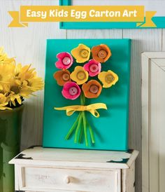 Egg carton art flower crafts DIY for a rainy day in April.