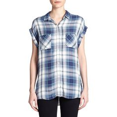 Rails Britt Plaid Shirt ($135) ❤ liked on Polyvore featuring tops, apparel & accessories, slouchy shirt, plaid shirt, plaid top, button front tops and button front shirt