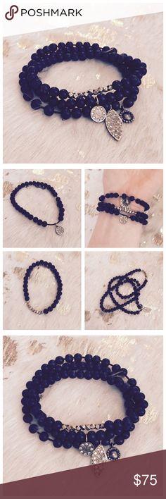Alex & Ani Black Beaded Bracelets (Set of 3) Black beads with gold accents. Bracelets are stretched out a bit from wear, but still very pretty! Alex & Ani Jewelry Bracelets