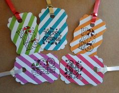 15 Tags Candy Striped Ribbon Punch by DonnasVintageCrafts on Etsy