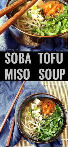 Soba Miso Tofu Soup #vegan