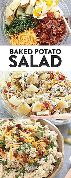 Get excited for the best BBQ side dish you will ever make! This baked potato sal., Food And Drinks, Get excited for the best BBQ side dish you will ever make! This baked potato salad is the perfect side dish next to bbq chicken, cheeseburgers, or wou. Healthy Baked Potatoes, Loaded Baked Potato Salad, Potato Salad With Bacon, Potato Salad Recipes, Baked Potato On Grill, Potato Egg Salad, Meals With Bacon, Recipes With Bacon, Best Ever Potato Salad