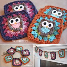 Owl crochet granny squares