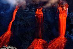 °Lava falls by FredrikHolm ~ Thousand degree hot lava falls an estimated 20m into Hrunagil from the original fissure of eruption at Fimmvörðuhál, Eyjafjallajökull, Iceland