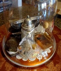 grandmothers treasures vignette under glass cloche #glass #cloche #vintage @the loopy ewe