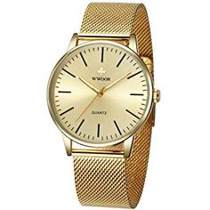 Mens Simple Slim Watch Analog Quartz Waterproof Gold Stainless Steel Mesh Band Thin Casual Dress Wrist Watches for Men Gents Watches, Watches For Men, Wrist Watches, Mens Watches Leather, Leather Men, Affordable Evening Dresses, Brown Leather Watch, Gold Face, Mesh Band
