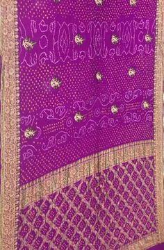 Purple Handloom Banarasi Bandhani Pure Georgette Saree Pure Georgette Sarees, Shah Alam, Buy Sarees Online, Saris, Unique Art, Tie Dye, Pure Products, Traditional, Purple