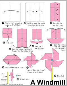 Invite w/ instructions to fold into origami windmill. Design within shape of final folded windmill?