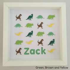 """Frame dimensions - 9""""x9"""" (23cm x 23cm)Colours – * Green, Brown and Yellow - CL5, CL8, CL22, CL23, PC4, CL9Choose this colour scheme or something in your own choice of colours for the same price. Name or details personalisation for no extra cost. Intricate handmade dinosaur framed art. Every dinosaur is cut and raised to create a unique 3D effect.An ideal personalised gift for a child. Great for a birthday or to compliment a child's bedroom. Set ... Interior Decorating Tips, Benjamin Moore Paint, Green Furniture, Eco Friendly House, Kid Beds, Kids Bedroom, Framed Art, Paper Art, Personalized Gifts"""