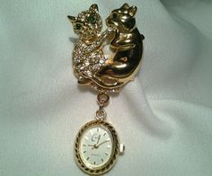 Vintage Gold Cache Rhinestone Double Cat Hanging Watch Clock Brooch Pin in Jewelry & Watches | eBay