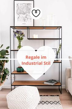 Regale in Industrial Style are not only optish a Highlight, also offer a very much stauraum. Wardrobe Rack, Blog, Handmade, Furniture, Industrial Style, Home Decor, Rustic Shelves, Modular Shelving, Room Wall Decor