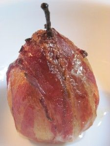 poached pears w bacon