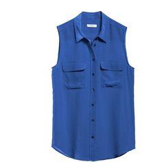 Equipment Sleeveless Slim Signature Blue Silk Shirt (175 AUD) ❤ liked on Polyvore featuring tops, shirts, tank tops, blouses, nautical blue, blue tank top, silk tank, slimming tank top, no sleeve shirt and nautical shirt
