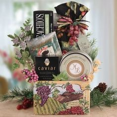 A #Vineyard #Country #Christmas #Wine #Themed #Gift #Basket The perfect gourmet #gift #basket for the occasion! Enjoy the tastes of the #vineyard harvest this holiday season with our Holiday Napa Valley Chateau #Gift Delicious Wisconsin cheese, wooden cheeseboard, #wine biscuits and the very popular #Wine Glace' are all beautifully designed inside this #wine #themed #gift https://food.boutiquecloset.com/product/a-vineyard-country-christmas-wine-themed-gift-basket/