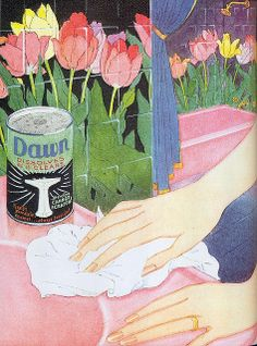 """Advertisement for Dawn cleanser 1929 Scanned from Taschen's """"All-American Ads of the Vintage Advertisements, Vintage Ads, Vintage Decor, Old Ads, Graphic Illustration, Illustrations, Cleanser, Dawn, Art Photography"""