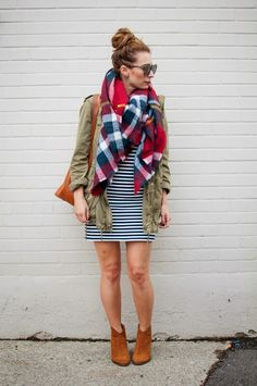 OOTD - Stripes and a Plaid Blanket Scarf | La Petite Noob