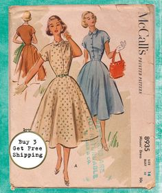 Vintage Classic Full Skirt Dress, 1952 McCalls 8935 Pattern, Size 14, Bust 32, Complete