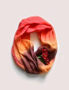 Dip-Dye Red Tones Scarf  Pure Red Orange Brown  Linen от lyralyra