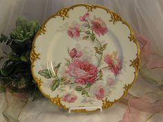 "Breathtaking Antique Haviland Limoges France Artist Signed Cabinet Plate w Pink Roses ~ Embossed Ornate Gold ~ Plate listed in Reference Book Artist Signed ""M. Naudin"" Fine Floral Artwork on French Porcelain Circa 1900"