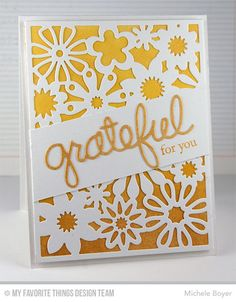 Floral Fusion Cover-Up Die-namics, Words of Gratitude Die-namics. Fall Foliage - Michele Boyer  #mftstamps